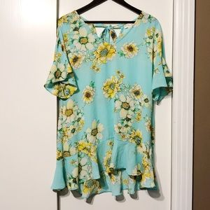 Bright Teal Sunflower Floral Flowy Ruffle Dress
